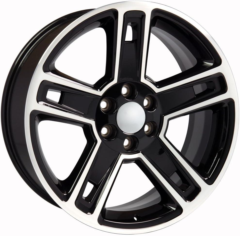 Partsynergy Replacement For 22 Rim fits 1999-2018 Chevrolet Silverado 1500 Black Machined 22x9 Aluminum Wheel