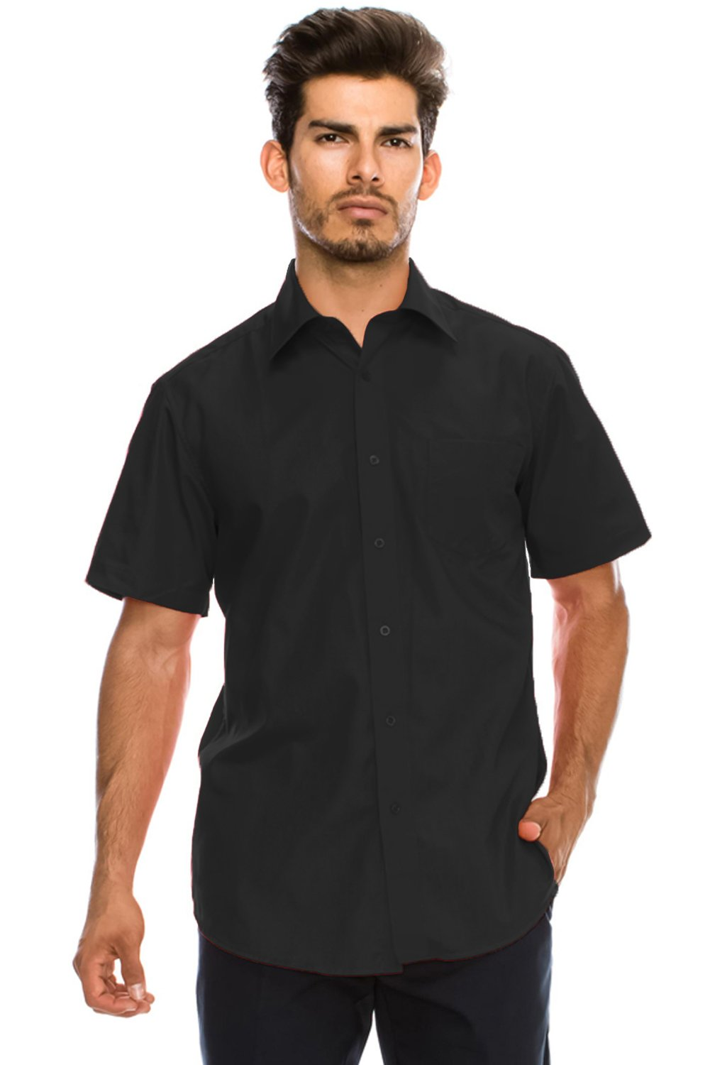 JC DISTRO Men's Regular-Fit Solid Color Short Sleeve Dress Shirt, Black Shirts (XL)
