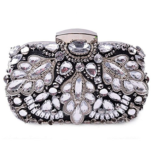 Crystal Beads Evening Hard Purse Black Heavy Diamond Clutches Handbag Bridal Case Party Rising Pouch Three Dimensional ON Bag Black txYwqSan5