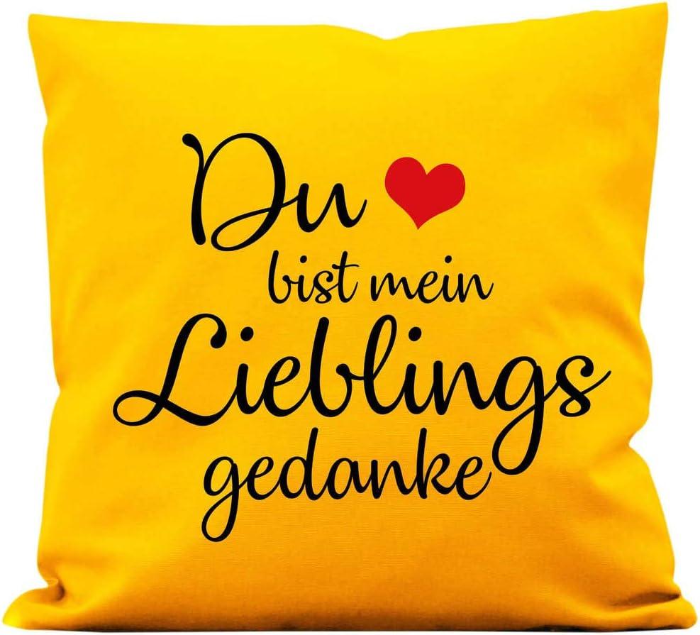 01 Stoff wei/ß Baumwolle 40 x 40 cm mit F/üllung Wandtattoo-Loft Kissen Du bist Mein Lieblingsgedanke