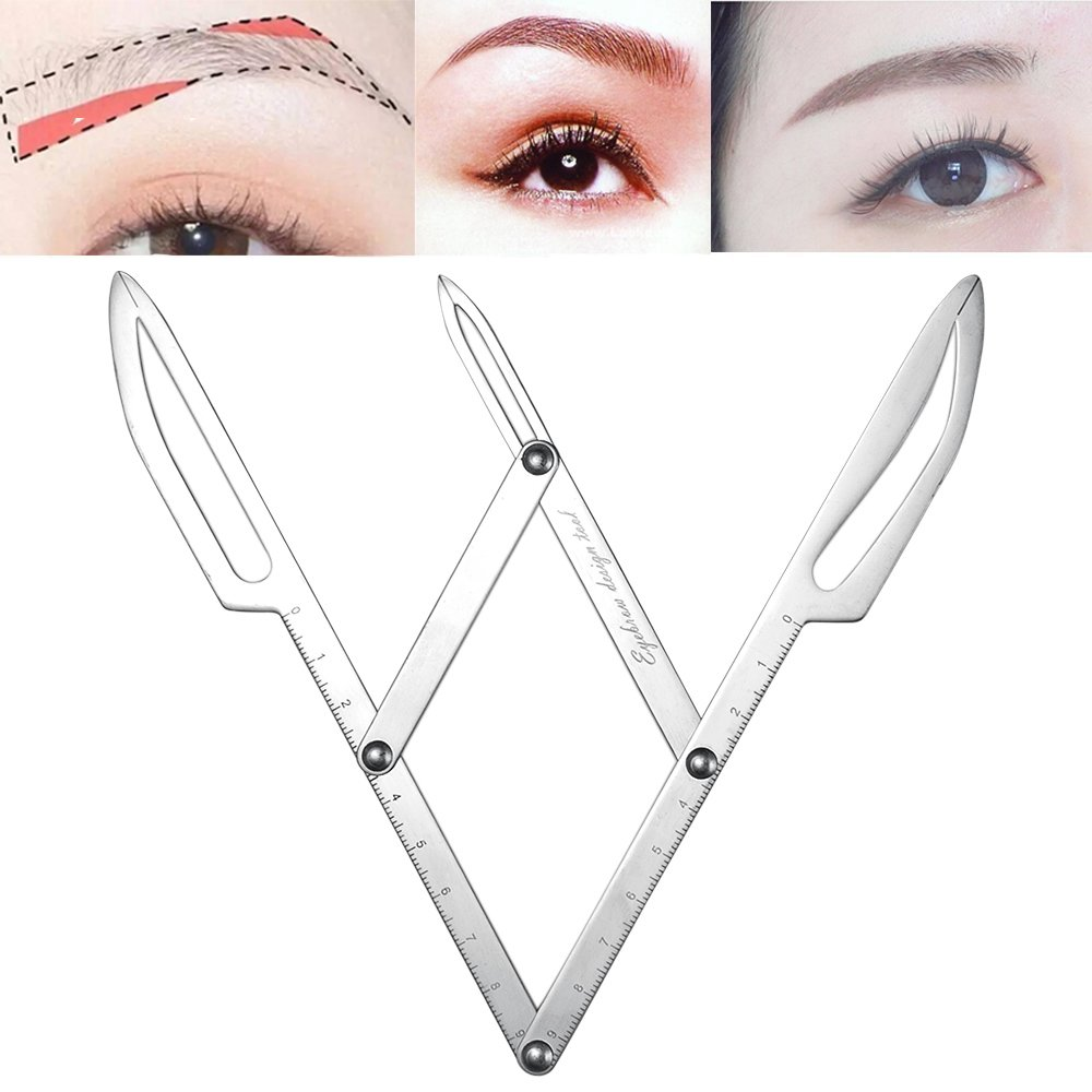 ATOMUS Eyebrow Stencil Positioning DIY Ruler Calipers Microblading Supplies Shaper Ruler Permanent Makeup Gold Ratio Eyebrow Measure Tool Stainless Steel
