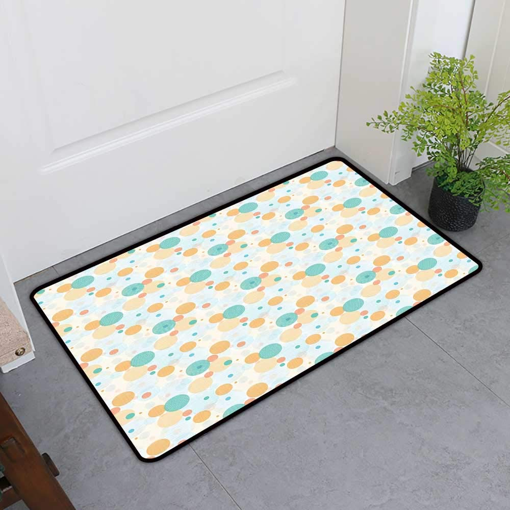 TableCovers&Home Welcome Front Mat, Geometric Decorative Rugs for Kitchen, Surreal Checkered Patterned Circles Various Shapes and Sizes (Turquoise Orange Baby Blue, H32 x W48)