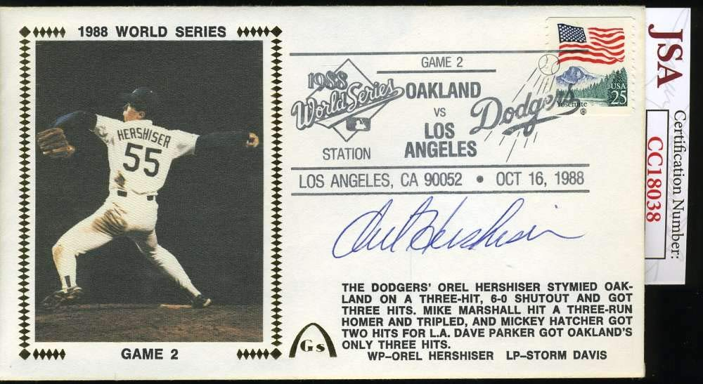 OREL HERSHISER JSA COA Autograph 1988 FDC Hand Signed Authentic