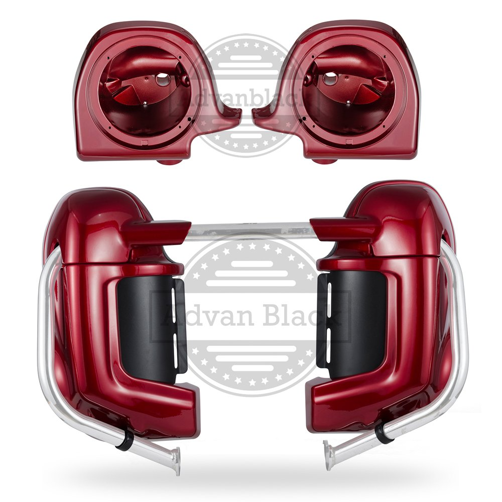 Red Hot Sunglo Pre-Rushmore Lower Vented Leg Warmers Fairing Kits with 6.5'' Speaker Box Pods For Harley Davidson Street Glide FLHX 1983-2016