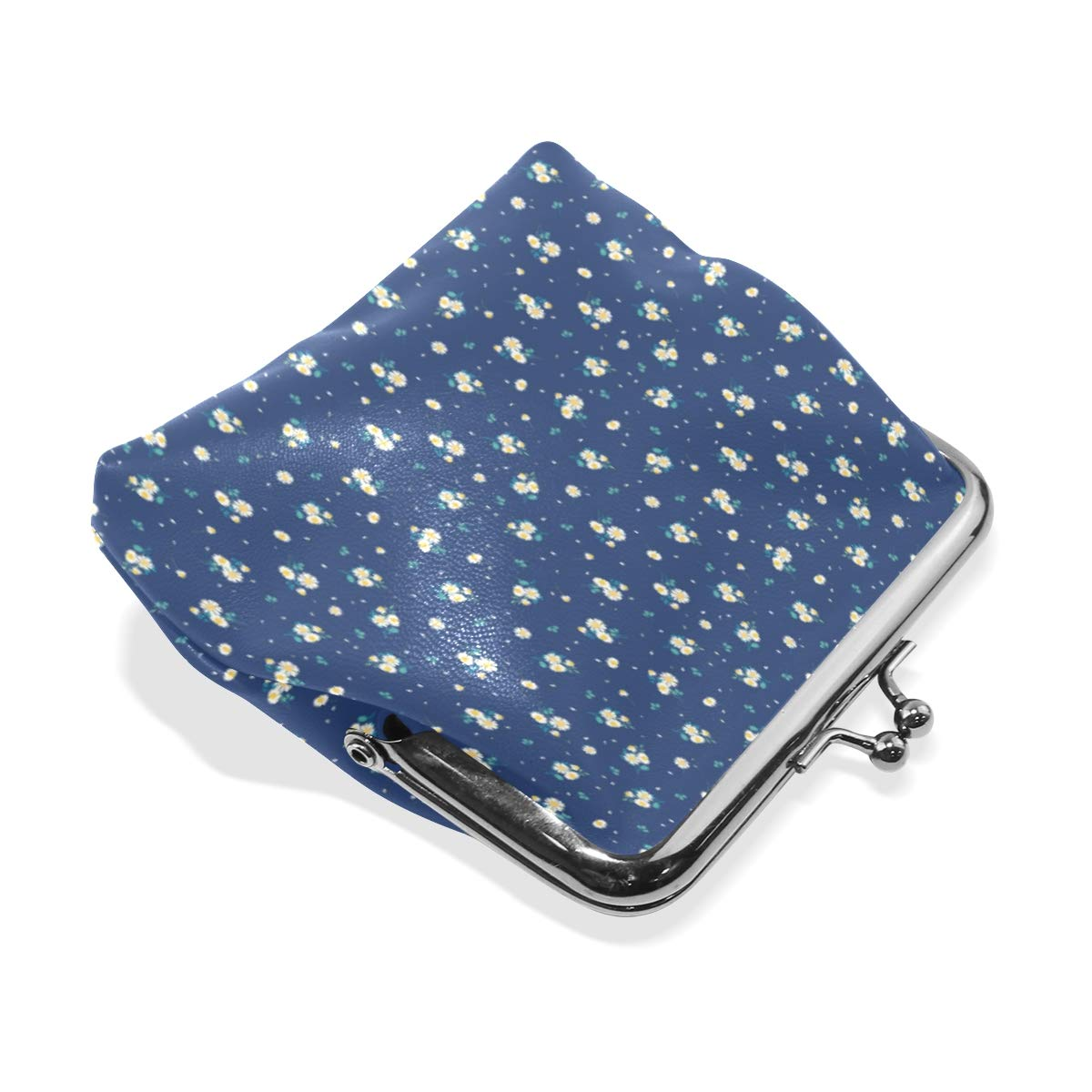 Exquisite Buckle Coin Purses Sweet Daisies Pattern Dedign Vector Mini Wallet Key Card Holder Purse for Women