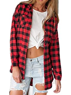 8346d96743176 ZANZEA Womens Buffalo Plaid Flannel Shirt Button Down Long Sleeve ...