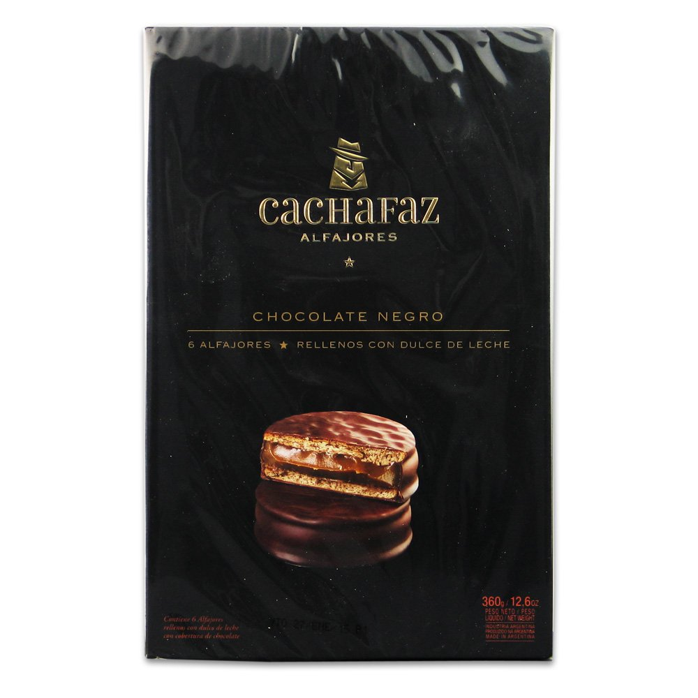 Amazon.com : Cachafaz Alfajor Negro-Chocolate Sandwich Cookie Filled with Dulce de Leche :6 Units : Gourmet Food : Grocery & Gourmet Food
