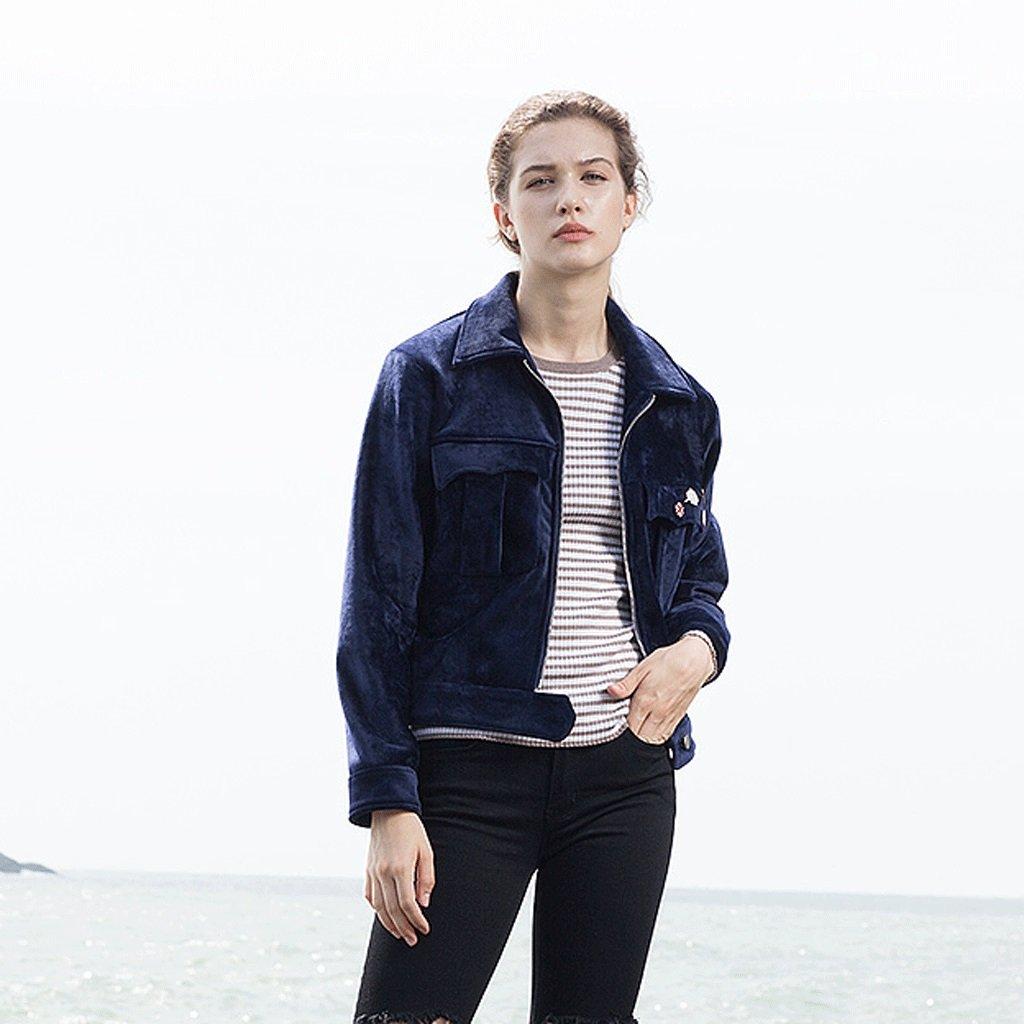 LI SHI XIANG SHOP Autumn short coat female Hong Kong style jacket shirt baseball clothing (Color : Blue, Size : M) by LI SHI XIANG SHOP (Image #5)