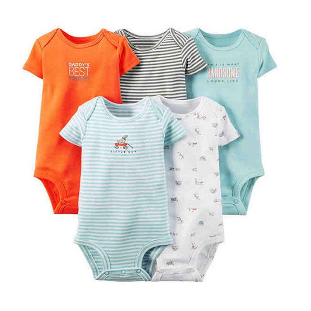 Babynice Body Combinaison Manche Courte Bébé Fille Garçon Eté Pyjama Barboteuse d'été Lot de 5