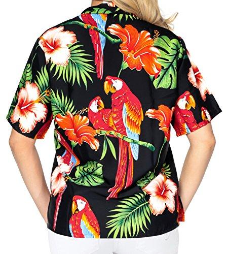 La Leela suave likre hibiscus aloha las mujeres ocasionales de la camisa buttondown hawaiano negro negro