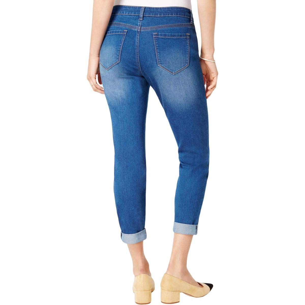Maison Jules Womens Mid-Rise Medium Wash Boyfriend Jeans