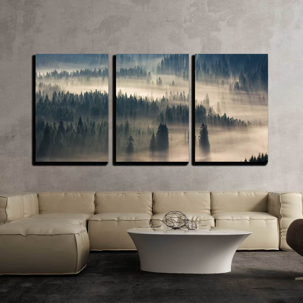 """wall26 - 3 Piece Canvas Wall Art - Fir Trees on a Meadow Down The Will to Coniferous Forest in Foggy Mountains - Modern Home Decor Stretched and Framed Ready to Hang - 16""""x24""""x3 Panels"""