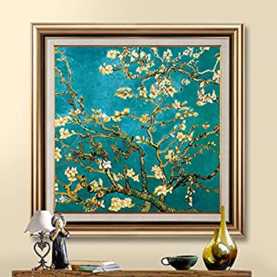 Patined European Style Porch Square Decorative Painting Corridor Aisle Hanging Painting Modern American Restaurant Bedroom Mural Apricot Flower Oil Painting