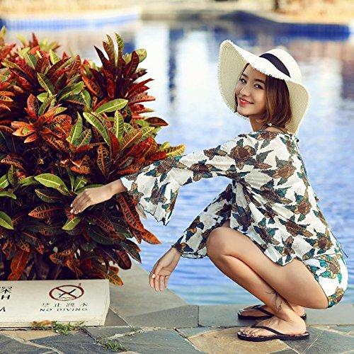 YONGYI La Sra. El sentido de la moda occidental 3 piece swimsuit bikini bañador de 3 piezas planas de sello hembra negro vídeo pobreza pecho flaco reunir swimsuit Bikini
