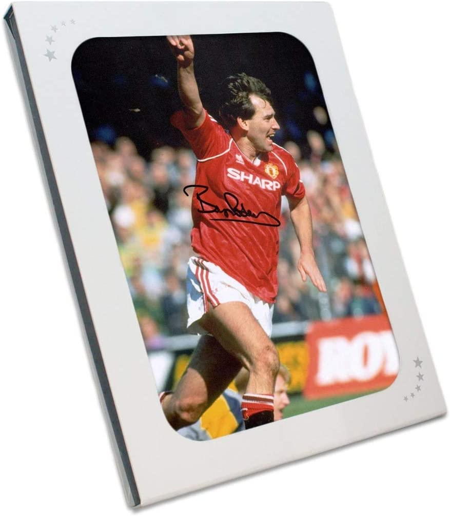 Exclusive Memorabilia Bryan Robson Signed Manchester United Photo Goal Celebration In Gift Box