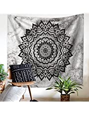 """Tapestry Wall Hanging Gradient Grey Mandala Flowers, Hippie Bohemian Tapestries Indian Home Decor Wall Art, Bedroom College Dorm Beach Throw Boho, 59""""x51"""" by ZHH"""