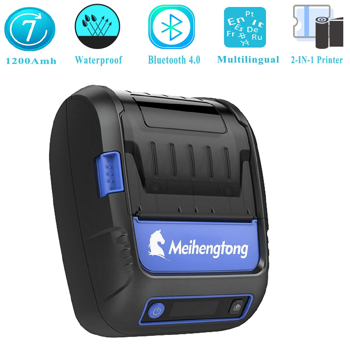 Mobile Thermal Label/Receipt Printer, Meihengtong Handheld 2 Inches 58mm Mini Portable Bluetooth 4.0 Label Printer Wireless with Rechargeable Battery, ...