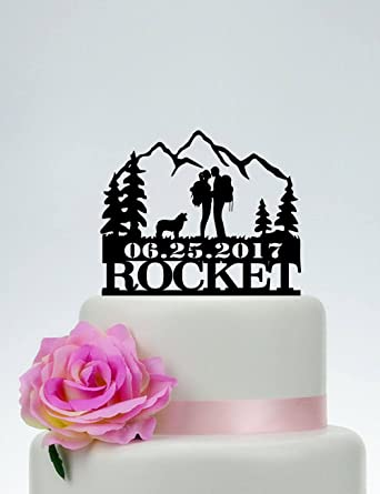 Custom Wedding Cake Topper Hiking Theme Wedding Mountain Cake Topper Backpacking Bride And Groom Outdoor Wedding Mountain Hiking Couple Amazon Com Grocery Gourmet Food