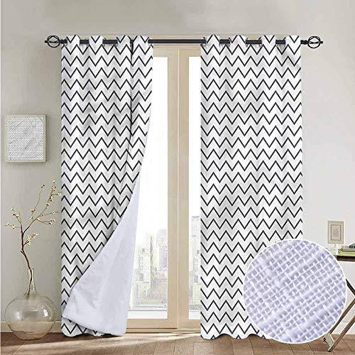 NUOMANAN Bedroom Curtains Modern,Zig Zag Chevron Waves,Thermal Insulated Room Darkening Window Shade 84