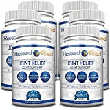 Research Verified Joint Relief - 100% Natural Glucosamine, MSM and Turmeric, Boswellia + Vitamins for Pain Relief and Joint Support - 6 Bottles (6 Months Supply)