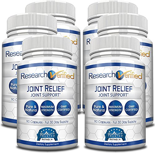Research Verified Joint Relief - 100% Natural Glucosamine, MSM and Turmeric, Boswellia + Vitamins for Pain Relief and Joint Support - 6 Bottles (6 Months Supply) by Research Verified
