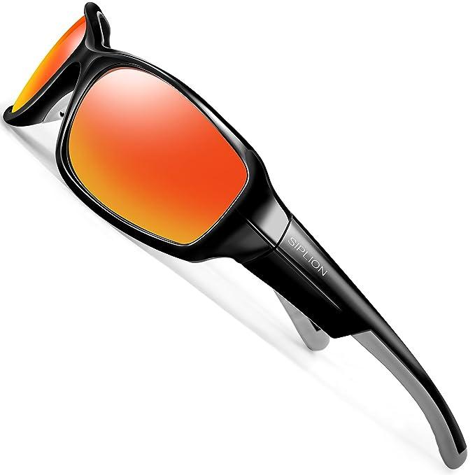 SIPLION Hombre Gafas De Sol Polarizado Lente TR90 Súper ligero Marco (rojo)