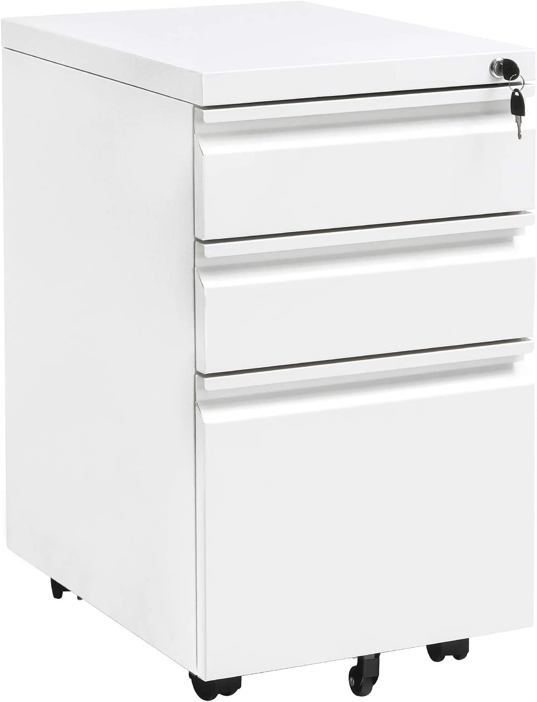 Locking File Cabinet Rolling Metal Filing Cabinet 34 Drawer Fully Assembled  Office Pedestal Files Except Wheel(White A)