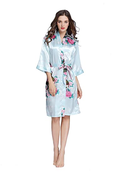 TheRobe Women s Printing Peacock Kimono Robe Short Sleeve Silk Bridal Robe  Wedding Robes (SkyBlue 6de2c3b0a