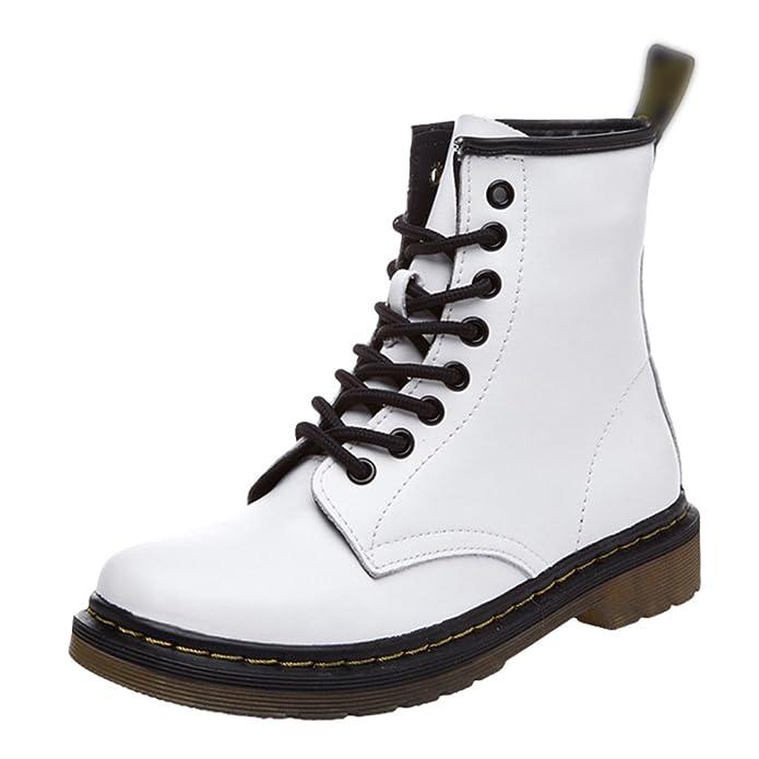 Yiiquan Damen Klassisch Martin Stiefel Kunstleder Winter Schnürsenkel Stiefeletten Schuhe (Weiß, CN 38/EU 37)