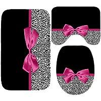 NHSY Girly Pink Ribbon Juego de Cortinas de Ducha y alfombras de baño con Estampado de Leopardo Moderno Cheetah Leopard…