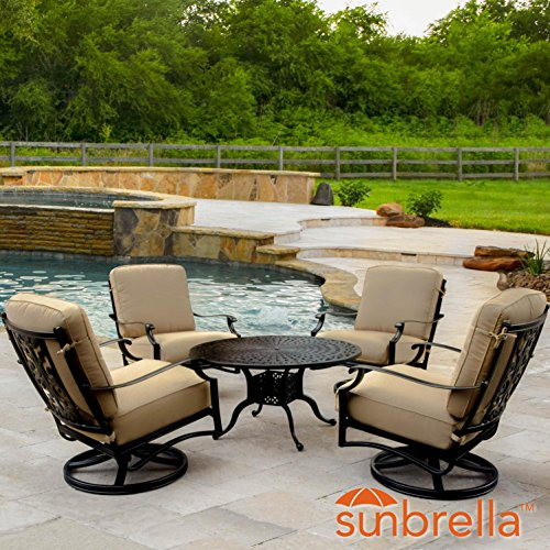 Lakeview Outdoor Designs Bocage 5 Piece Cast Aluminum Patio Conversation Set W/Round Coffee Table, Swivel Rocker Club Chairs & Sunbrella Heather Beige Cushions By Aluminum 5 Piece Club Chair