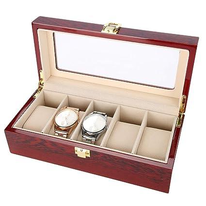5 Grids Caja de Almacenamiento de Relojes Rojo, Estuche de Joyeria para Organizadora y Exhibición