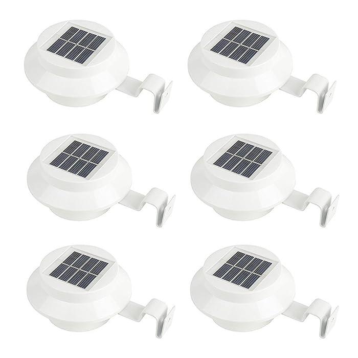 iSunMoon 6 Pack Gutter Solar Lights Outdoor LED Gutter Lights Solar Powered for Fence Roof Gutter Garden Yard Wall Lamp