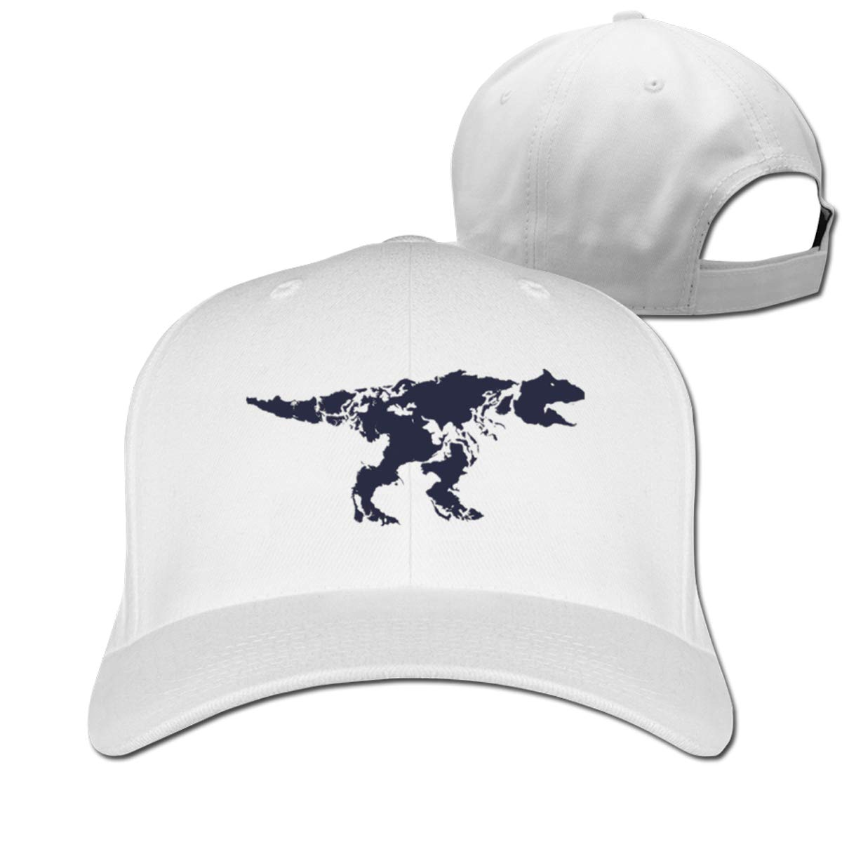 Dinosaur Map Fashion Adjustable Cotton Baseball Caps Trucker Driver Hat Outdoor Cap White