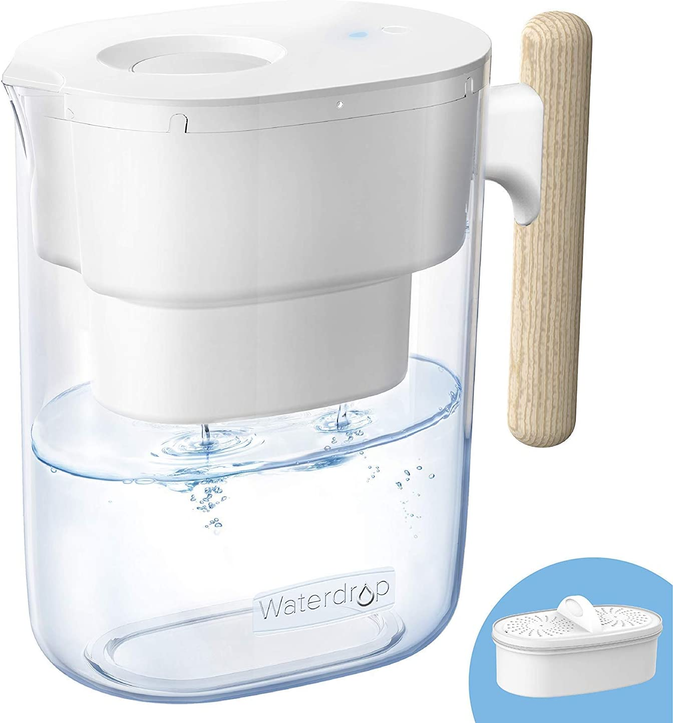 Waterdrop Chubby 10-Cup Water Filter Pitcher, Long-lasting (200 gallons), 5X Times Lifetime Filtration Jug, Reduces Lead, Fluoride, Chlorine and More, BPA Free, White
