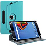 TGK Universal 360 Degree Rotating Leather Rotary Swivel Stand Case Cover for iBall Cleo S9 Tablet PC (7 inch) - Sky Blue