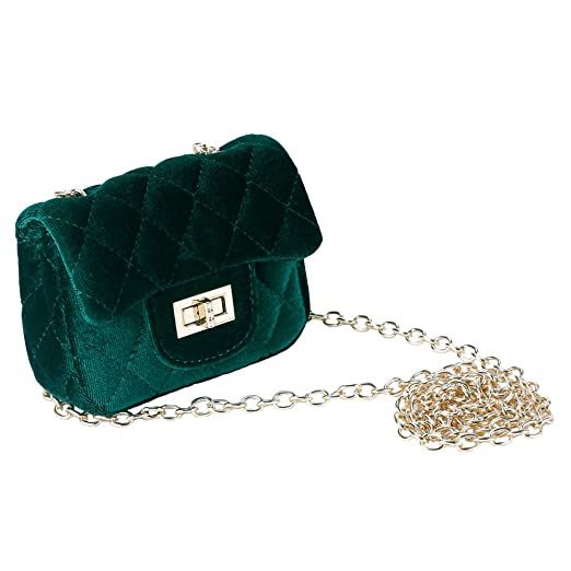 a20564db9 Amazon.com: Girls Faux Fur Fluffy shoulder purse Green Clutch ...