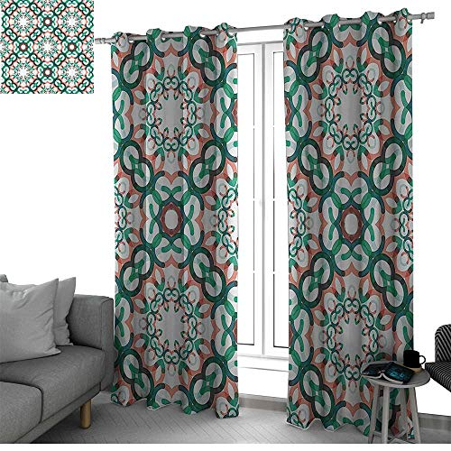 bybyhome Circle Decor Curtains for Sliding Glass Door Round Shapes Made of Short Lines Geometric Decorative Pattern Window Curtain 2 Panel Coral Jade and Forest Green W96 x L84 Inch ()