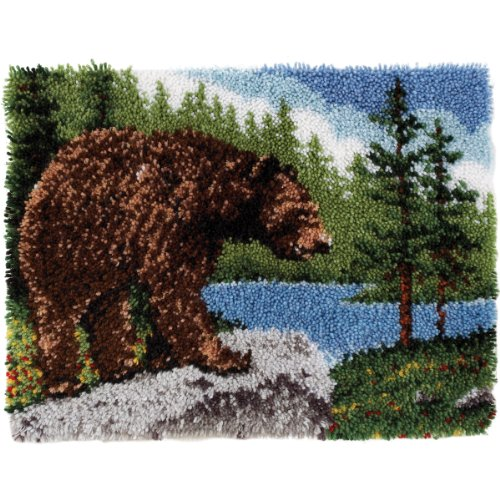 Wonderart Classics Grizzly Bear Latch Hook Kit, 20