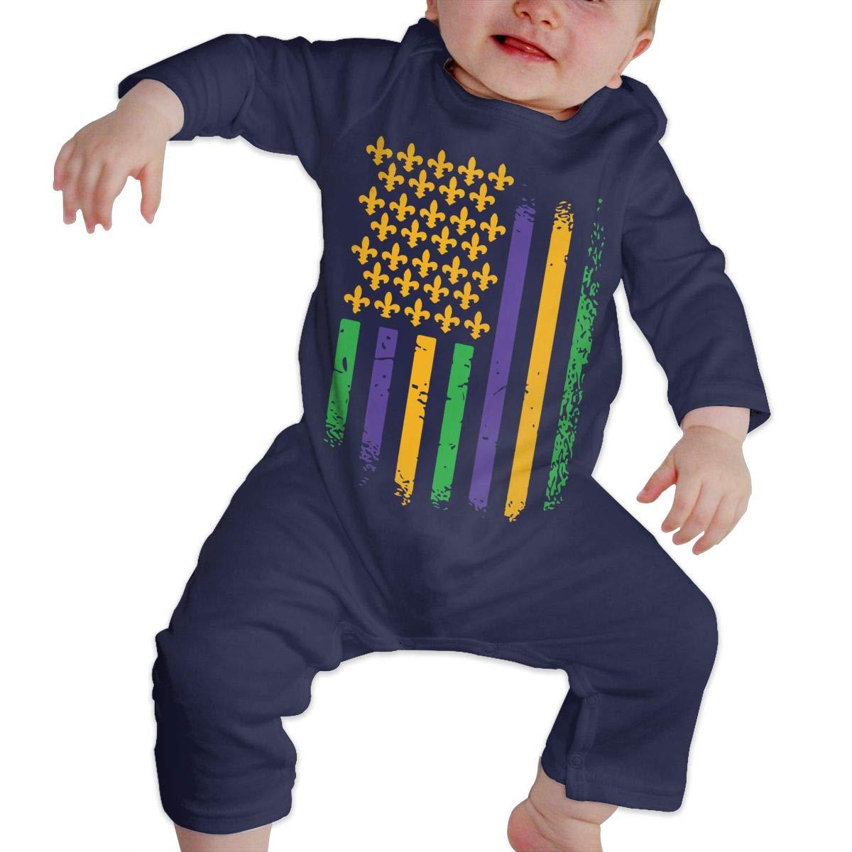 LBJQ8 US Mardi Gras Flag Infant Girls Boys Sleep and Play Bodysuit Jumpsuit Outfits