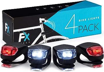 Luci Bici LED Luce Bicicletta Set di 4 Luci - Posteriore e