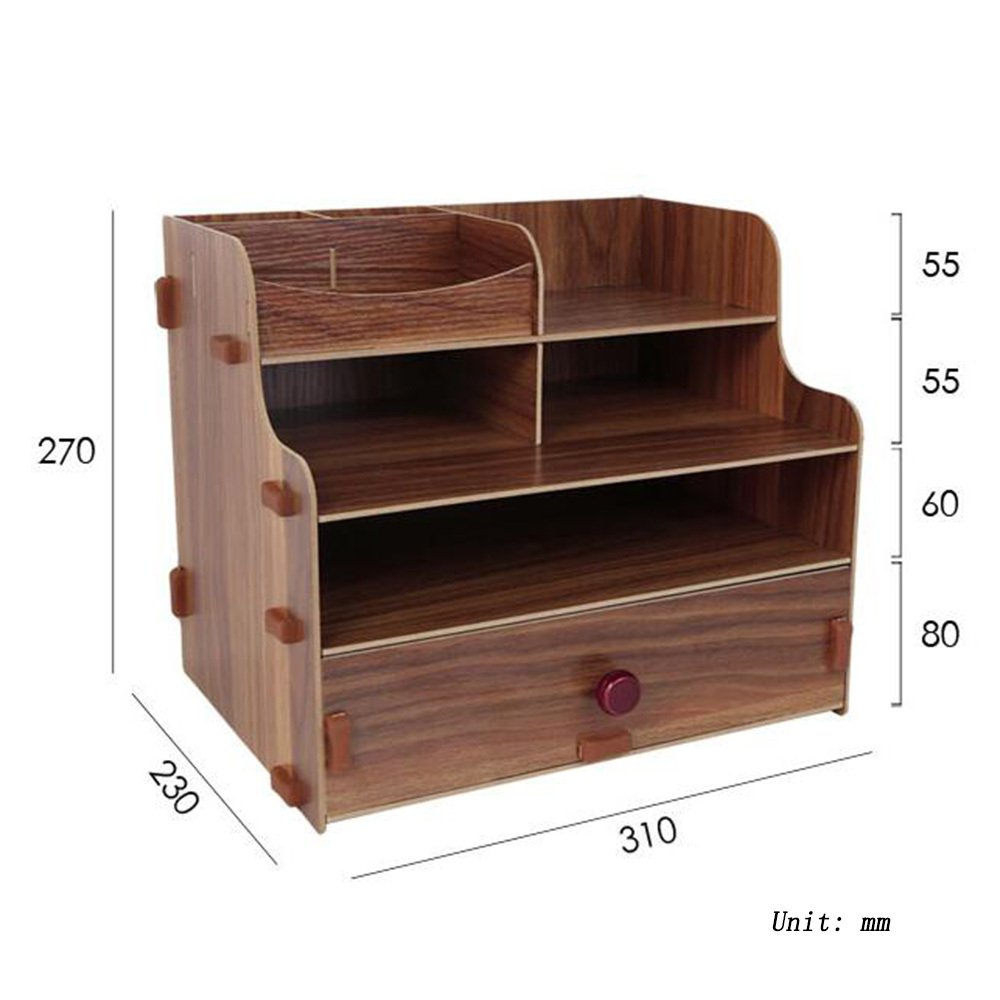 Bookcase Wooden Tabletop Tabletop Storage Boxes Desks Office Supplies Drawers File Storage Racks,Wood by ANHPI-bookcase (Image #2)