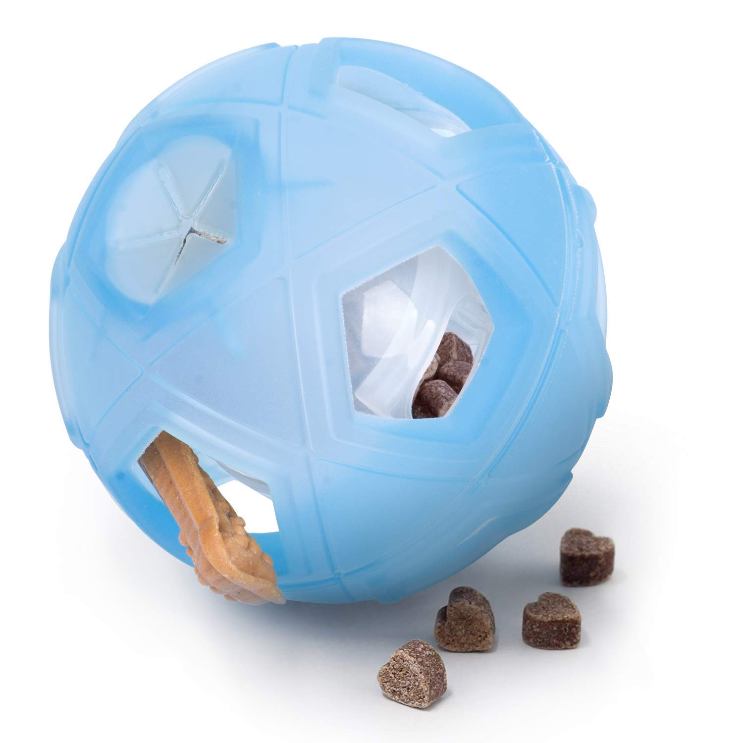 "LumoLeaf Dog Treat Ball, 7"" Interactive IQ Treat Dispensing Ball Toy with Adjustable Difficulty Setting for Medium to Large Dogs and Cats."
