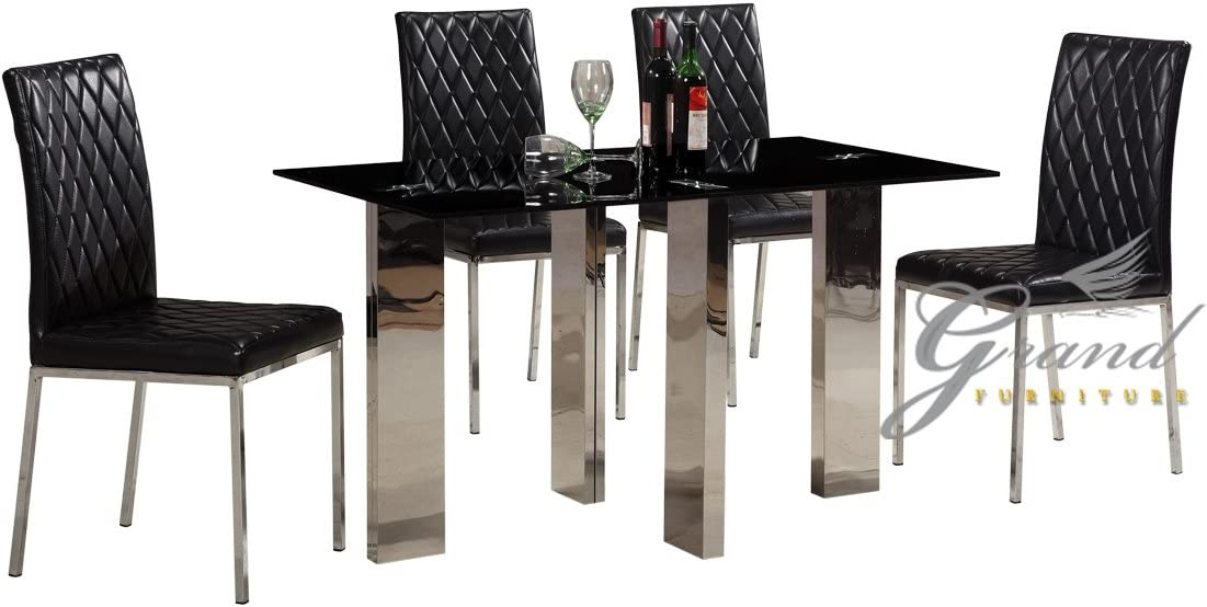Othello Contemporary Black Glass Dining Table And 4 Chairs Set Dining Room Furniture Amazon Co Uk Kitchen Home