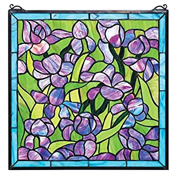 Design Toscano Saint-Remy Irises Stained Glass Window