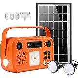 Portable Solar Generator with Solar Panel Solar BT Speaker System with Flashlights Bluetooth, MP3 Player, FM Radio for…