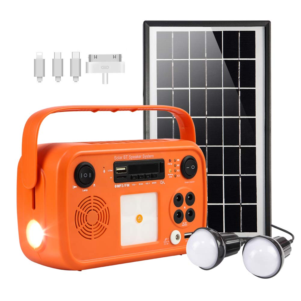 soyond Portable Solar Generator with Solar Panel Solar Powered Generator Kit with Flashlights Bluetooth, MP3 Player, FM Radio for Home Emergency Backup Power Camping Outage (Orange Retro Style) by soyond
