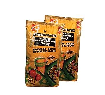 floval Carbón Vegetal Gastronomía 50L 2 Bolsas gewerbe Calidad Gastro Barbacoa Carbón Premium 50L 2 Bolsas