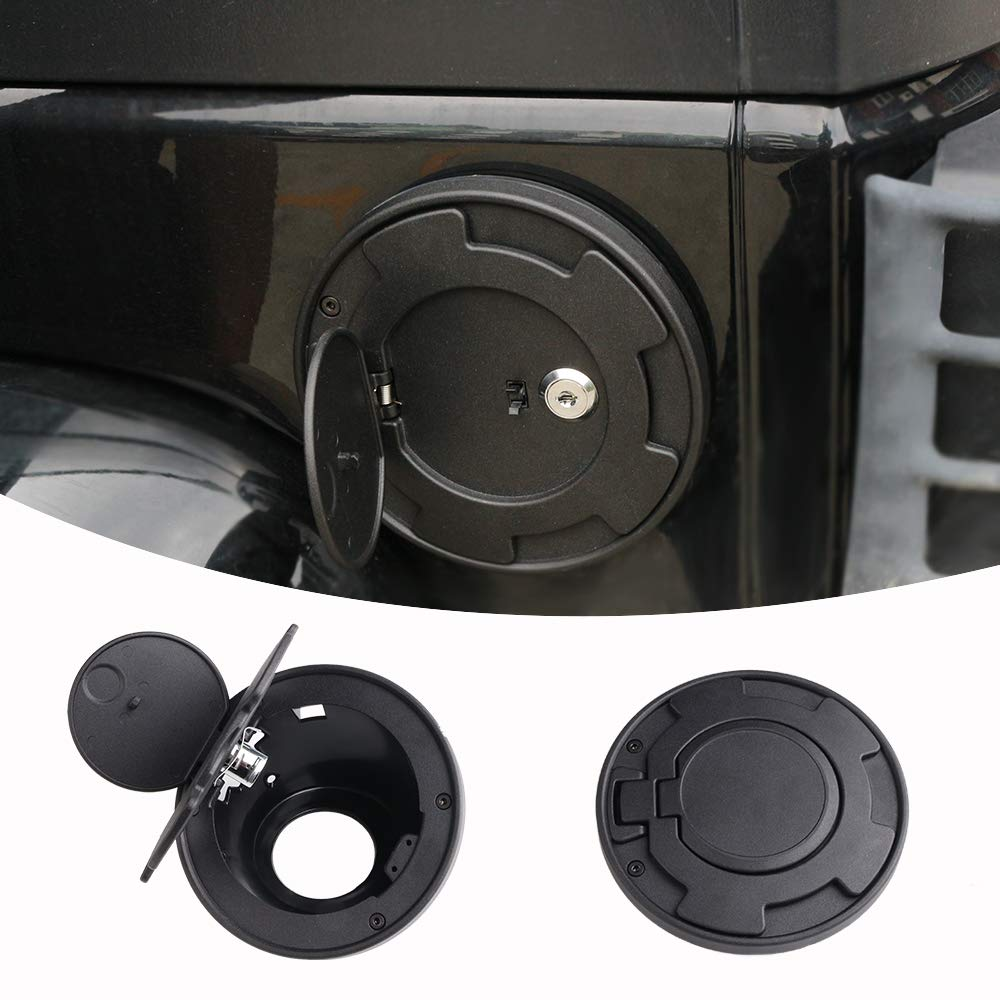 Athiry New Fuel Tank Black Aluminum Powder Coated Steel Gas Cover Gas Cap Cover for Jeep Wrangler JK & Unlimited 2007-2017 2D/4D