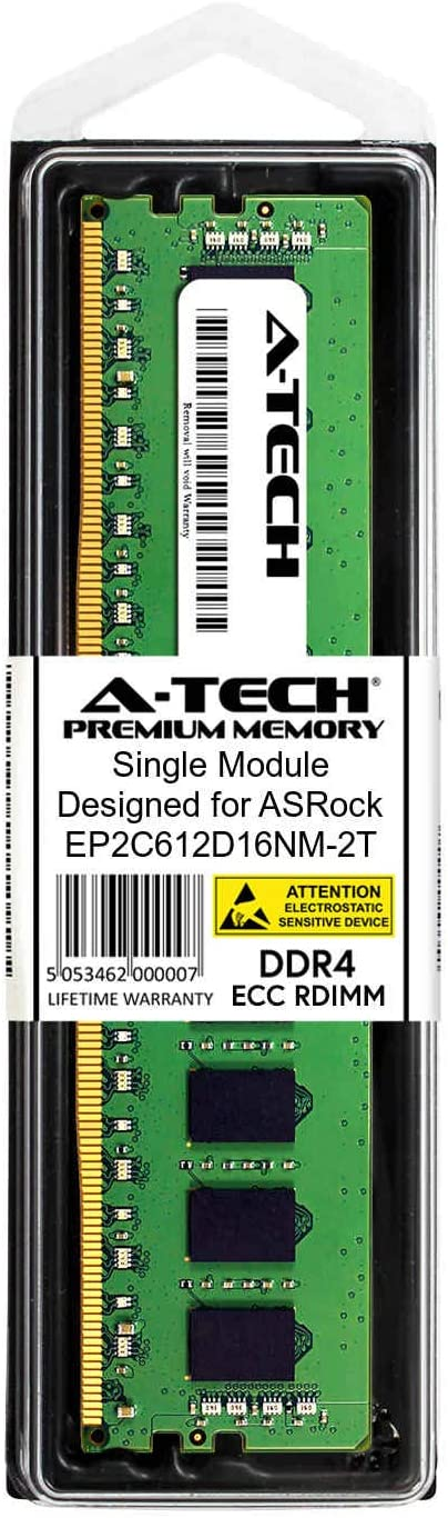 Server Memory Ram DDR4 PC4-21300 2666Mhz ECC Registered RDIMM 1rx8 A-Tech 8GB Module for ASRock EP2C612D16NM-2T AT395736SRV-X1R13